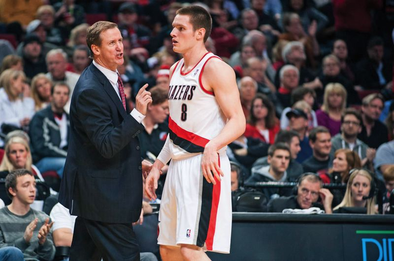 by: TRIBUNE FILE PHOTO: NICK FOCHTMAN - Trail Blazers coach Terry Stotts, giving some of his thoughts to forward Luke Babbitt, says the first 50 games of the 2012-13 season were enjoyable.