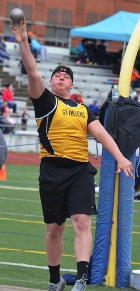 by: JOHN BREWINGTON - St. Helens' Jacob Zartman was fifth in the shot put with a 42-11.5 toss during the Wilsonville Invitational on Saturday.