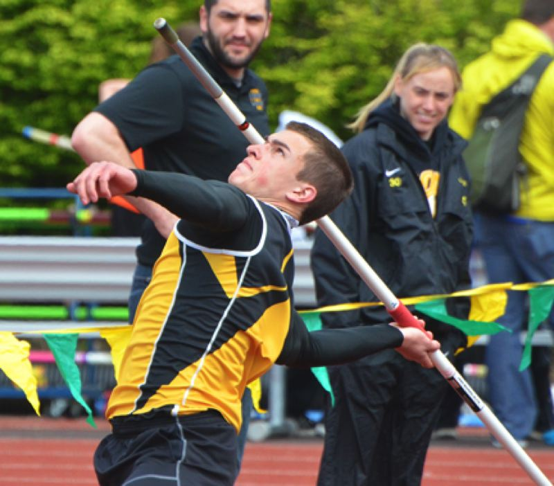 by: JOHN BREWINGTON - St. Helens' Nate Reed was second in the javelin with a 171-11 toss during the Wilsonville Invitational on Saturday.