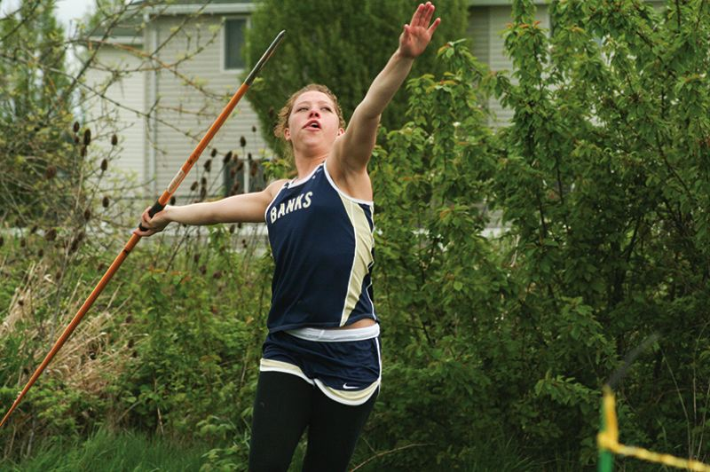 by: NEWS-TIMES PHOTO: AMANDA MILES - Banks junior Ashley Edwards prepares for a throw during the javelin competition at Saturday's Banks Invitational. Edwards finished second in the event with a throw of 107 feet, finishing behind sophomore teammate Kindel Bailey, who won with a toss of 114 feet, 3 inches.