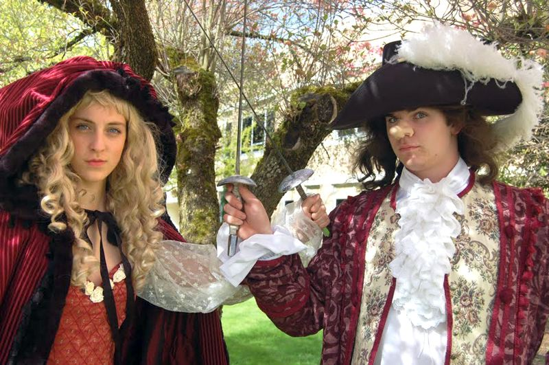 by: CONTRIBUTED PHOTO: GRESHAM HIGH SCHOOL DRAMA - Devin Bailey plays George Hays portraying Cyrano, while Lily Cichon plays Charlotte Hays portraying Roxanne, in Gresham High's 'Moon Over Buffalo.'