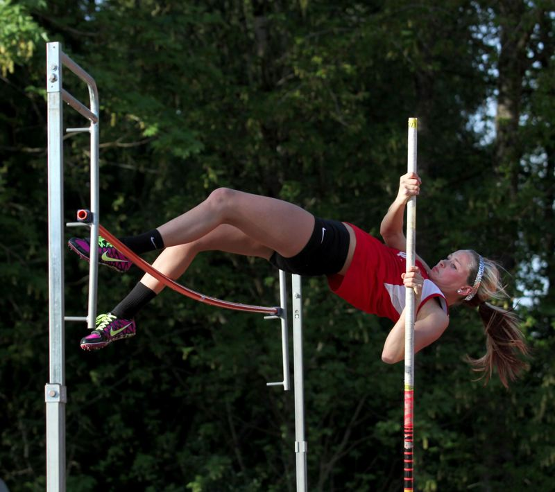 by: JONATHAN HOUSE - Oregon City junior Alisa McEniry has proven herself one of the top female pole vaulters in the Three Rivers League this spring. She cleared 9-0 to win the event in last weeks dual win over Clackamas.