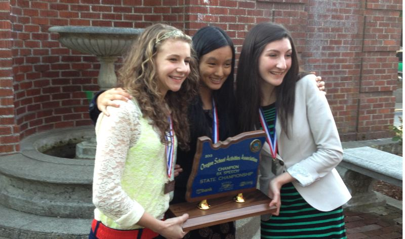 by: PHOTO COURTESY: JENNIFER LESIEUR - Pictured are Amber Harvey, sophomore and quarter finalist (from left), and sophomores Jennie Jiang and Emily Holland, who both tied for first place in Lincoln-Douglas debate. The speech and debate team from Clackamas High School took second place in the state competition last month, finishing behind Tigard.