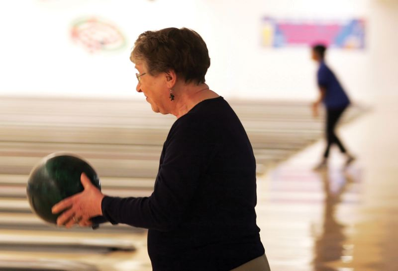 by: JIM CLARK: PAMPLIN MEDIA GROUP - Lillian Erdman, 87, of Northeast Portland started bowling in 1989.