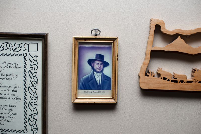 by: HILLSBORO TRIBUNE PHOTO: CHASE ALLGOOD - A portrait of Joseph L. Meek, who served as the first marshal of the Oregon Territory in the 1840s, hangs on the wall of John Meeks home in Hillsboro. John Meek is the great-grandson of Joseph Meek.