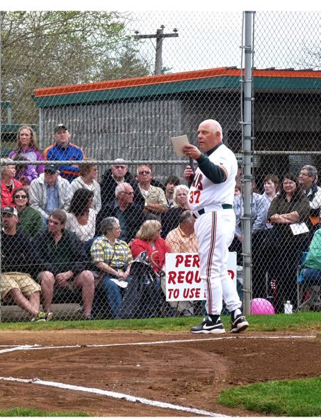 by: CONNECTION PHOTO: DREW DAKESSIAN - Mike Clopton gives a speech upon learning that the Wilson High School baseball field has been named in his honor.