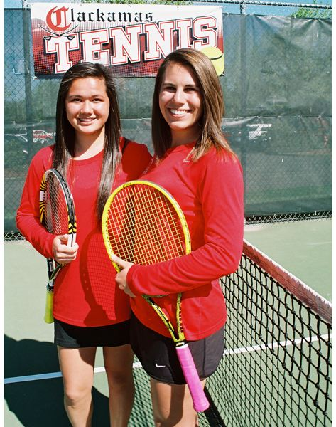 by: JOHN DENNY - Clackamas seniors Hana Watari (left) and Claire Walker did themselves proud at the recent Three Rivers League District Tennis Tournament, placing fourth and earning a berth at the Class 6A State Tournament.