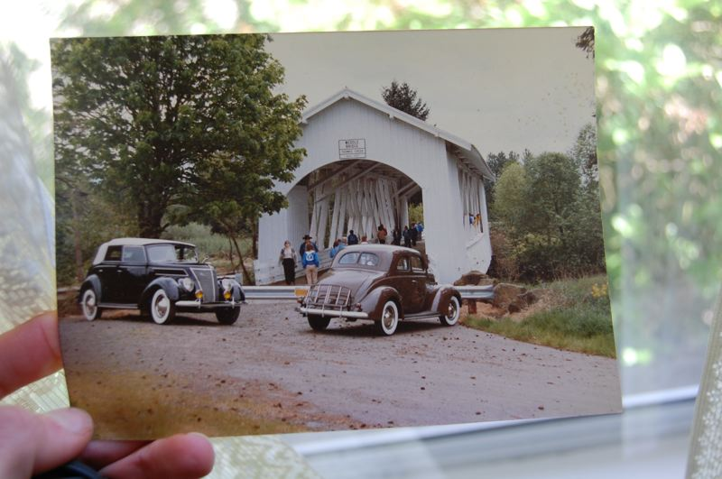 by: PHOTO BY RAYMOND RENDLEMAN - This family photo shows Jaeger's Ford visiting a historic Oregon covered bridge.