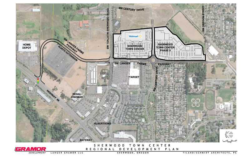 by: COURTESY OF GRAMOR - Here's an overhead view of what the new Walmart in Sherwood will look like. As part of a condition of approval, Gramor Development must extend Langer Farms Parkway north to the other side of Tualatin-Sherwood Road where it will hook up with Highway 99W.