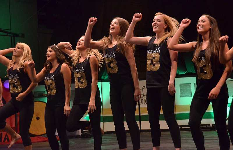 by: VERN UYETAKE - Members of the senior class perform a dance routine to the tune 'Bella Final.'