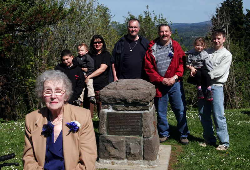 by: OUTLOOK PHOTO: JIM CLARK - Four generations of Gertrude Glutsch Jensen's descendents are represented in this photo taken with Jensen's new memorial at Portland Womens Forum Thursday, May 2.