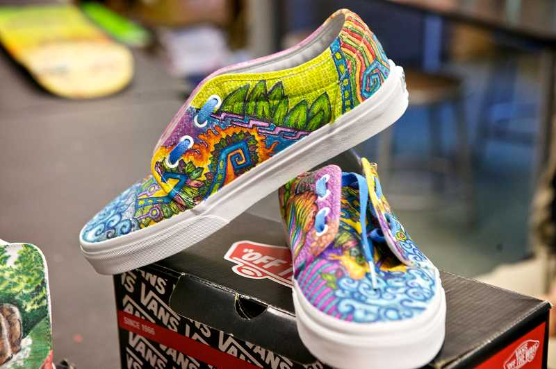 by: TIMES PHOTO: JAIME VALDEZ - Seven students at St. Stephen's Academy participated in a Vans-sponsored shoe design contest with the hopes of winning $50,000 for art programs at their school.