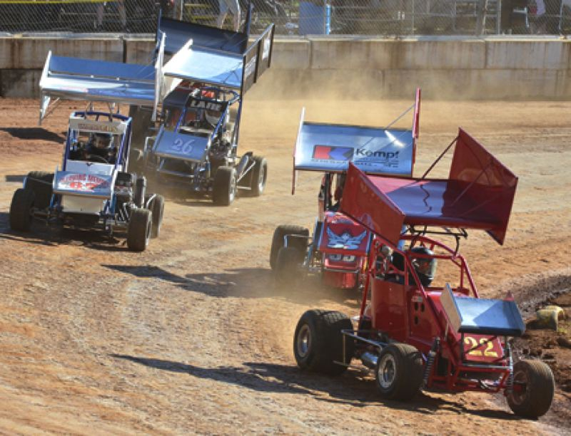 by: JOHN BREWINGTON - A new racing season began last Saturday at River City Speedway at the Columbia County Fairgrounds. Mini sprint racers take a turn below.
