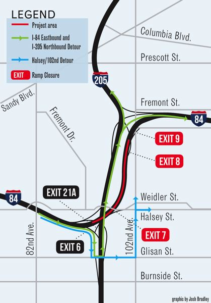 by: GRAPHIC: JOSH BRADLEY  - While construction is underway in the red area, eastbound I-84 traffic, northbound I-205 traffic and I-84 motorists heading to Northeast Halsey Street and 102nd Avenue will be rerouted through detours.
