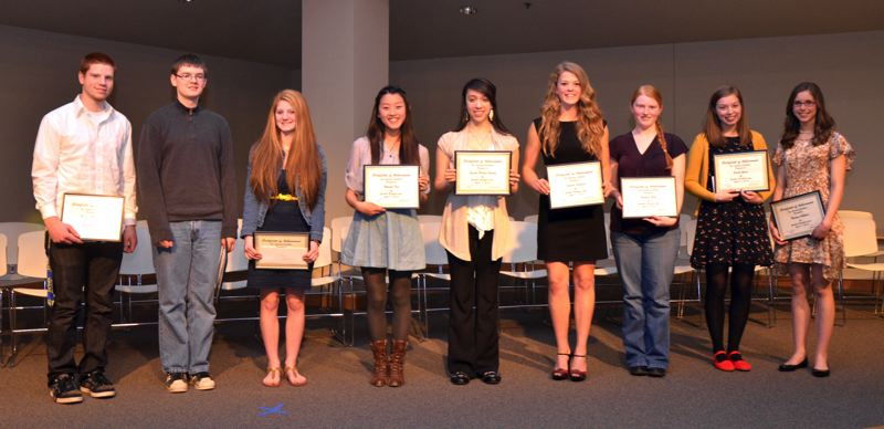 by: CONTRIBUTED PHOTO - Nathan Titchenall, Kyle Espenas, Tiffany Martell, Hannah Kim, Jessica Saray, Kamrin Sorensen, Shannon Ernst, Sarah Yates and Rachael Collmer were scholarship recipients at the 27th annual Gresham Breakfast Lions Club awards ceremony.