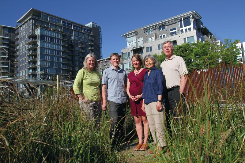 by: PAMPLIN MEDIA GROUP: JONATHAN HOUSE - Biomimicry Oregon members (from left) Mary Hansel, Ethan Smith, Nicole Isle, Faye Yoshiara, and Greg Smith, look for inspiration in nature to inform engineering and product designs.