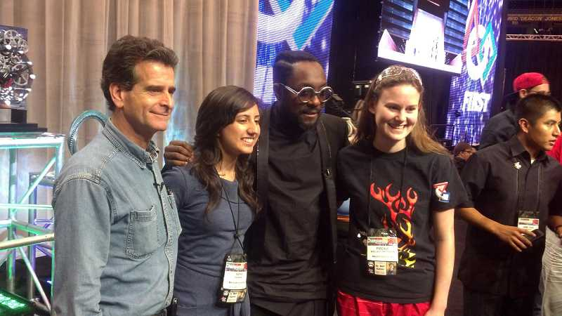 by: SUBMITTED PHOTO - Scholarship recipient Pascale Patterson, far right, poses with FIRST founder Dean Kamen, a fellow honoree from Cerritos, Calif., and musician will.i.am.