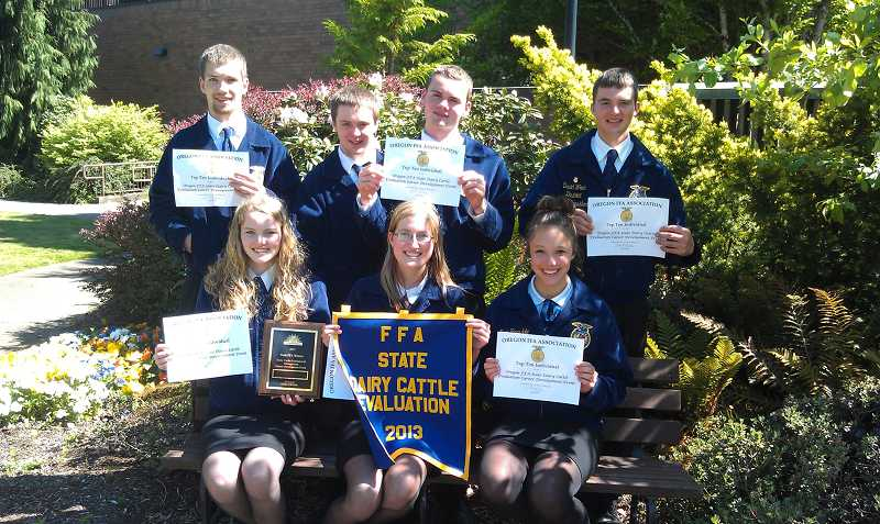 by: COURTESY PHOTO: TIM EGGLESTON - The Banks High School FFA team includes (back row, left to right): Gerritt Schmidlkofer, Matt Murry, Nick Evers, David Wren. Bottom row, left to right: Stefani Evers, Megan Sprute, Kortni Ragsdale.