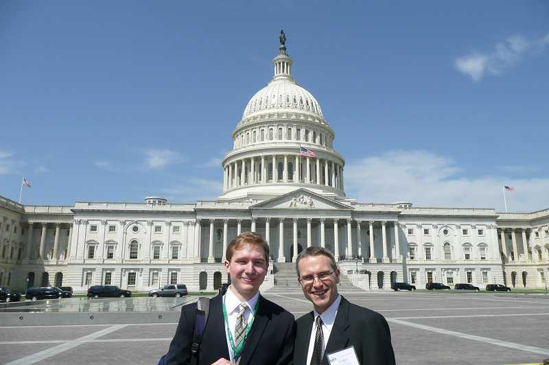 by: COURTESY PHOTO: PACIFIC UNIVERSITY - Alec Bowcock, a member of the Pacific University Class of 2013, and his advisor, physics professor James Butler, traveled to Washington, D.C., in April so Bowcock could present his optical-sensor research.