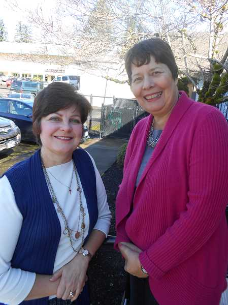 by: CLIFF NEWELL - Julie Ouellette, left, and Nancy Raske seem like angels to families desperate for help with loved ones who are stricken by dementia. Their wide experience, tireless effort and compassion make them a good team.