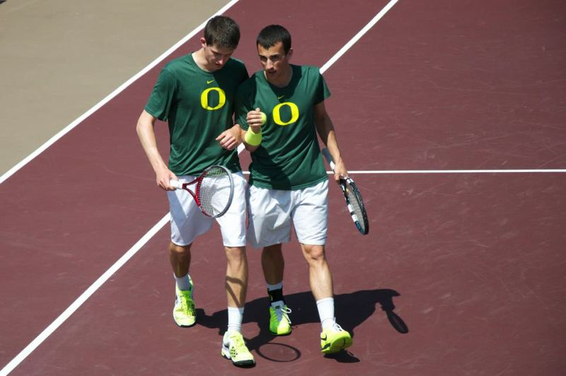 by: COURTESY OF ALEX ROVELLO - Alex Rovello counsels freshman and 2013 doubles partner Daan Maasland (left) of the Netherlands.