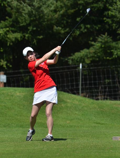 by: VERN UYETAKE - Lake Oswego's Jessica Lee shot round of 96 and 93 at the girls state golf tournament at Quail Valley.