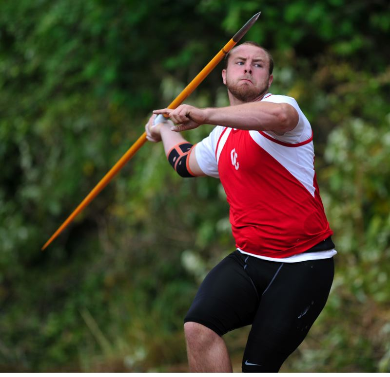 by: JOHN LARIVIERE - Senior Beau Brosseau scored big for Oregon City at last weeks Three Rivers League District Championships, earning first place in the javelin, discus and shot put.
