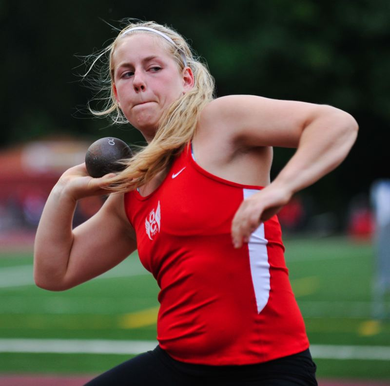 by: JOHN LARIVIERE - Oregon City sophomore Jenny Holbrook did herself proud at last weeks Three Rivers League District Meet. A first-year competitor in track and field, Holbrook earned a trip to state, placing second in the shot put.