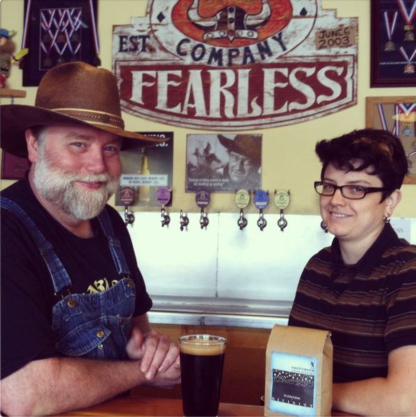 by: PHOTO BY: SKYLER DIX  - Ken Johnson, owner of Fearless Brewing, and Lisa Halcom, owner of Happyrock Coffee Roasting Company, collaborated to produce a coffee porter, debuting this week in Portland.