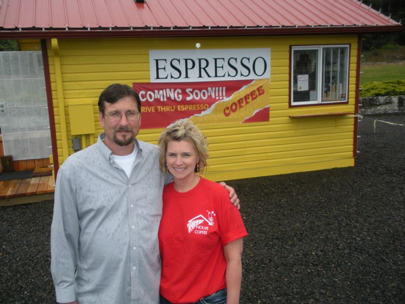 by: POST PHOTO: JIM HART - Co-owners Jay and Michele McKague stand in front of the kiosk that is now open near Shortys Corner. Co-owners of the business, not pictured, are Jess and Renae McKague, and the trained staff includes all of the children of both families.