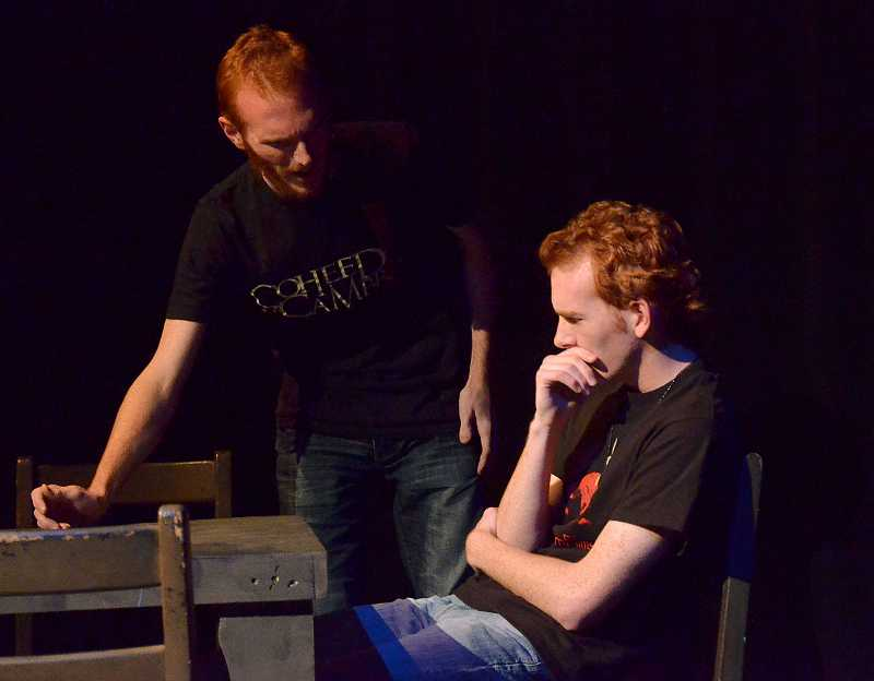 by: REVIEW PHOTO: VERN UYETAKE - In the red cast, Thomas Curran plays Mr. Webb, left, and Alex Smith is George Gibbs in the blue cast.