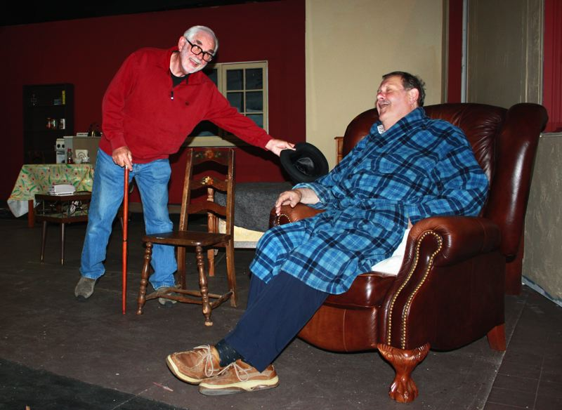 by: POST PHOTO: NEIL ZAWICKI - Joe Silver and Jim Bumgardner rehearse  a scene from Neil Simons The Sunshine Boys Friday at Sandy Actors Theater.