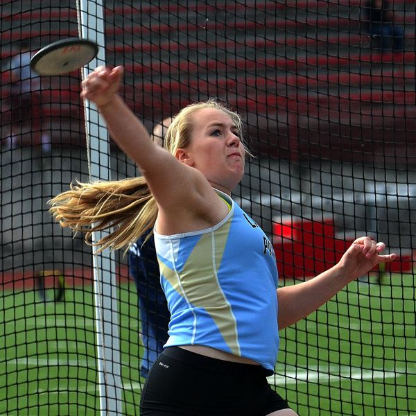 by: VERN UYETAKE - Lakeridge's Maddie Rabing won both the shot put and discus last week, breaking the school record in the shot put.