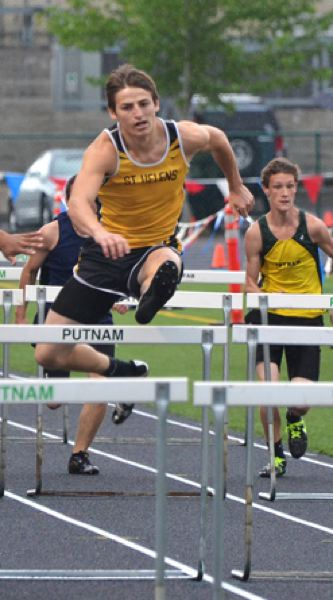 by: JOHN BREWINGTON - St. Helens' Kendrick Alvarez was a surprise second in the high hurdles and won the 300 meter intermediate hurdles.