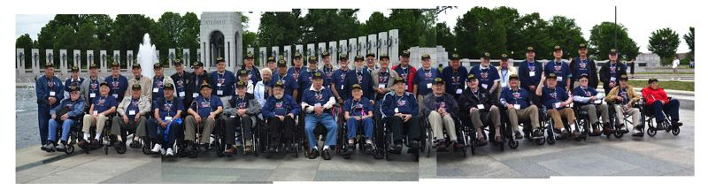 by: COMPOSITE IMAGE FROM CONTRIBUTED PHOTOS - Three local WWII veterans joined a group of 50 fellow vets selected to spend four days sightseeing in Washington D.C. as honored guests of the Bend Heroes Foundation and Honor Flight of Portland.