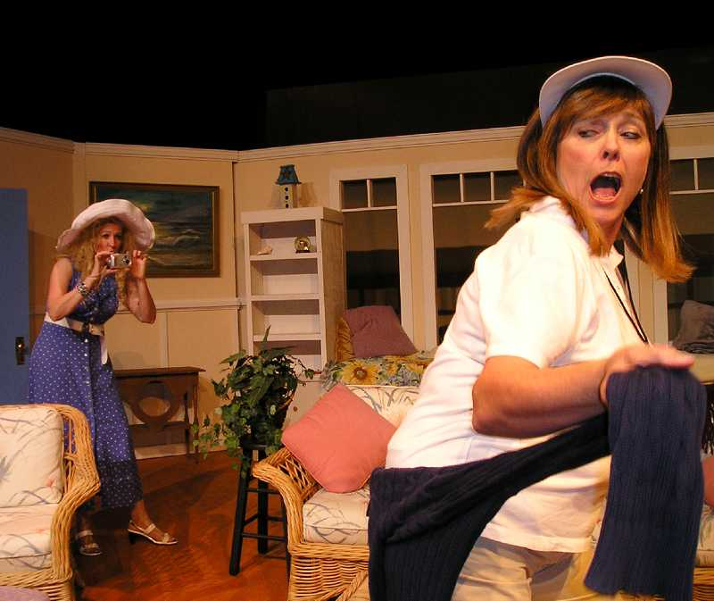 by: COURTESY PHOTO: THEATRE IN THE GROVE - Lexie (Patti Speight) arrives unexpectedly at the house where the swim-club friends are holding their annual weekend retreat and catches Sheree (Jeanna Van Dyke) dancing around the house with wild abandon.