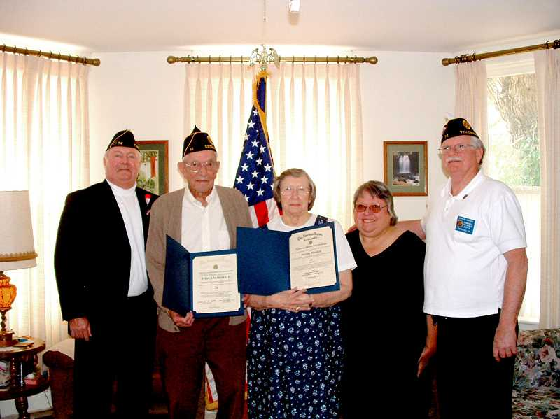 by: JAMES BELTRAMO, POST 74 HISTORIAN - American Legion District 7 Commander Terry Brown stands with honorees Merle and Dorothy Marshall along with the Marshalls daughter Judy, and Post 74 Commander Douglas Jamieson.