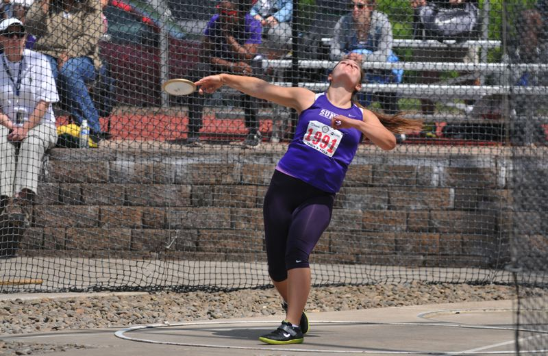 by: TIMES PHOTO: SETH GORDON  - Sunset sophomore thrower Savannah Sharp won the discus at the 6A State Championships on Saturday by flinging the disc 127-04.