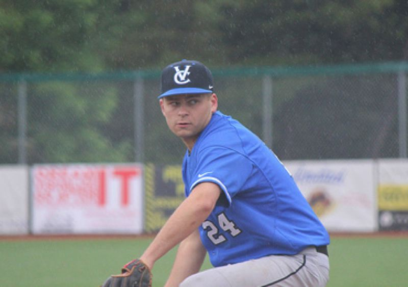 by: COURTESY PHOTO: BARBARA KERR - Valley Catholic starter Nick Quandt pitched four quality innings against Dayton and kept the Valiants in the contest early in a 7-5 win.