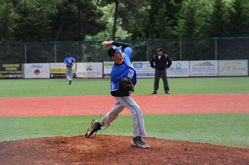 by: COURTESY PHOTO: BARBARA KERR  - Valley Catholic pitcher Carter Buuck delivers a pitch against Pleasant Hill in the 3A state playoffs