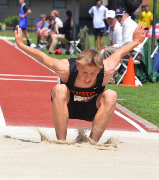 by: JOHN BREWINGTON - Scappoose's Joey Krupsky bettered his previous best by three feet in the triple jump to take sixth at state.