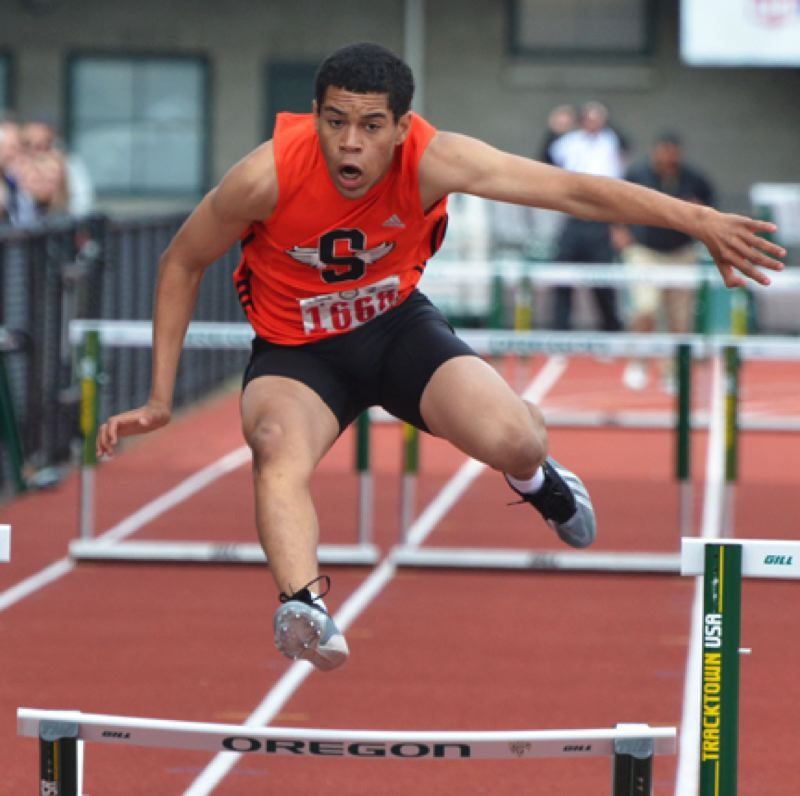 by: JOHN BREWINGTON - The Tribe's Jadyn Harris had a solid run to take fifth in the 300 hurdles.