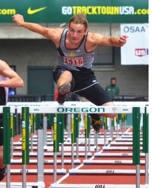 by: JOHN BREWINGTON - St. Helens' Thomas Hughes took fifth in the high hurdles and sixth in the intermediate hurdles at the state meet on Saturday.