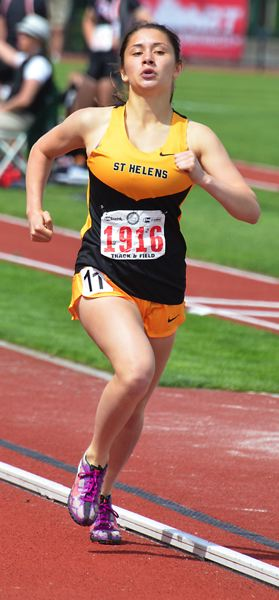 by: JOHN BREWINGTON - St. Helens' Patience Marshall didn't place at the state meet but ran a pretty good 800 meter race.