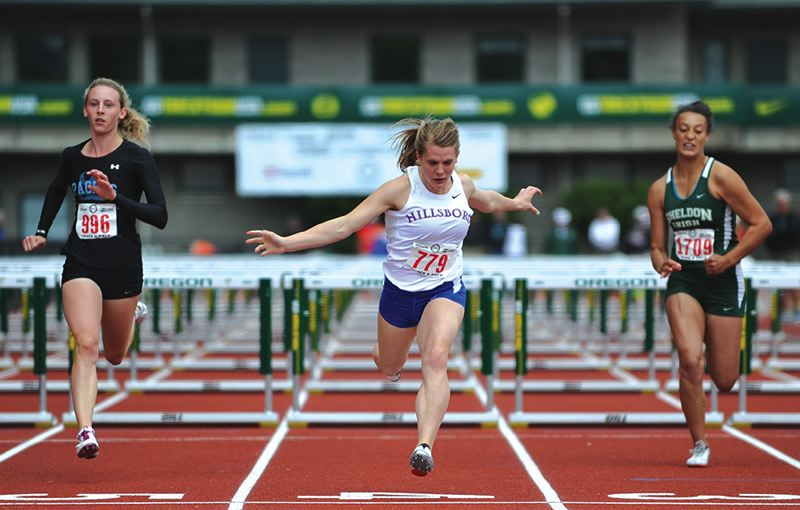 by: HILLSBORO TRIBUNE PHOTO: ZACK PALMER - Hillsboro senior Anna Dean captured her first state championship on Saturday at the Class 6A state track and field championships at Hayward Field in Eugene, clocking 14.64 seconds to win the in the 100-meter hurdles.