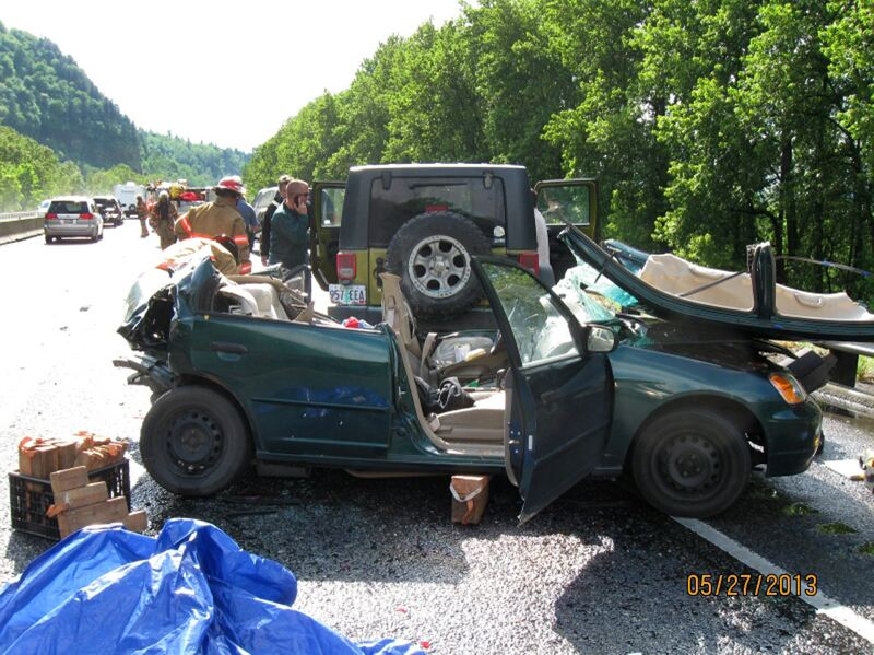 by: CONTRIBUTED PHOTO - A multiple car crash on Interstate 84 sent three people to the hospital Monday, May 27.