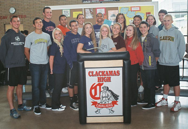 by: JOHN DENNY - Among senior athletes taking part in recent athletic scholarship ceremonies at Clackamas High School were: (front row, from left) Max Jette, Daniel Badaracco, Summer Mohr, Erick Douglas III, Natalie Kestle, Hannah Stultz, Shelby Vasconcellos-Mattocks, Sydney Wilson, Chico Guerra and Nick Strandholm; and (back) Jarrod Switzer, Randy Lee, Vanessa Oakden, Deeshyra Thomas, Cydney Bartlett, Kiana Miller, Tori Roberts and Westley Coleman.
