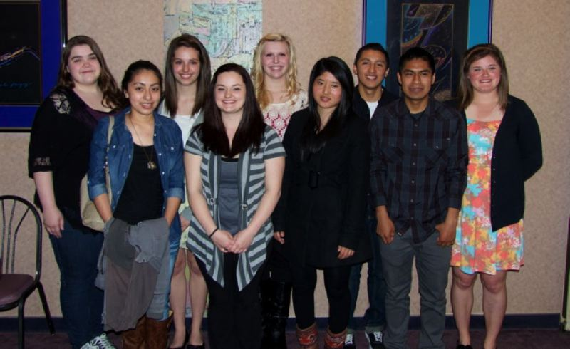 by: CONTRIBUTED PHOTO: CARLOS NORIEGA - Gresham Rotary Scholarship recipients, from left to right: Amber Starr, Leticia Lopez, Amber Duan, Tia Nash, Hailee Trapold, Pema Lahmo, Edgar Valencia Esquivel, Eric Lopez and Taylor Carbone.