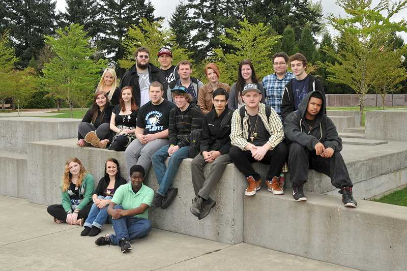 by: PORTLAND REIGN PHOTOGRAPHY - Arts & Technology High School celebrated the graduation of 21 students in the class of 2013 on Wednesday, including eight West Linn residents. The ceremony was held at the Gregory Forum at Clackamas Community College. Top row, standing, from left, are Jessica Ralston, Adam Hill, Christopher OMalley, Sam Stillwell, Lara Valachovic, Krysten Carner, Cory Pendley and Paul Dorsey. Sitting on the wall, from left, are Kristy Ciontos, Kaitlyn Craig, Cascade Rawlings, Riley Norby, Alek Macks, Rook Clark and Quavon Holding. Sitting, bottom row, from left, are Savannah Stillwell, Harley Weber and Vanessa Olson. Not pictured:  Joshua Clark, Haley Gibson and Darren Rounsville.