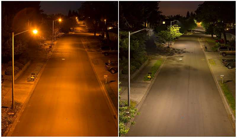 by: SUBMITTED PHOTO - A before and after shot from Oregon City shows the difference between cobrahead streetlights, on the left, and the new LED lights on the right.
